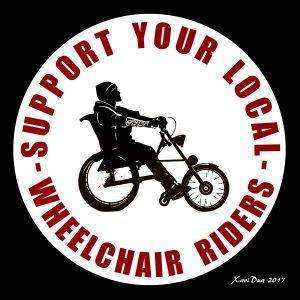 """La imagen y el concepto """"SUPPORT YOUR wheelchair riders"""" está bajo una Licencia Creative Commons Atribución-NoComercial-SinDerivar 4.0 Internacional."""