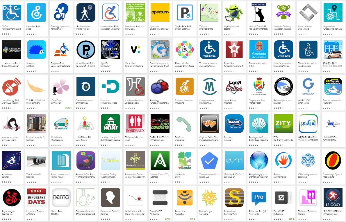 iconos de aplicaciones para personas con discapacidad