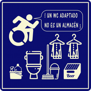 Para imprimir adhesivos denunciando que un WC no es un almacén en Castellano