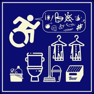 Para imprimir adhesivos denunciando que un WC no es un almacén versión internacional