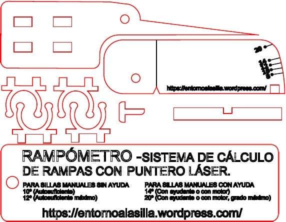 Diseño para imprimir el el rampómetro con cortadora láser o con sierra de marquetería.