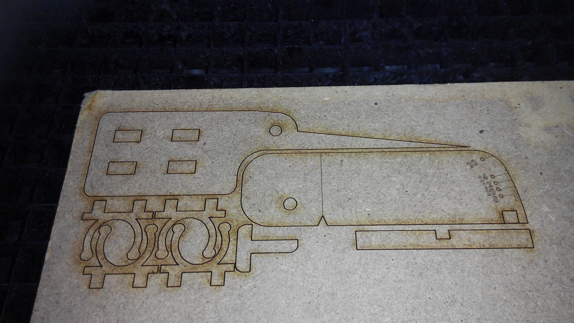 El Rámpómetro en la cortadora láser