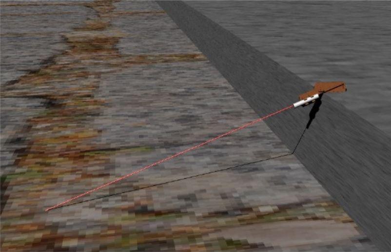 Renderizado en 3D, simulando la medición de una rampa.