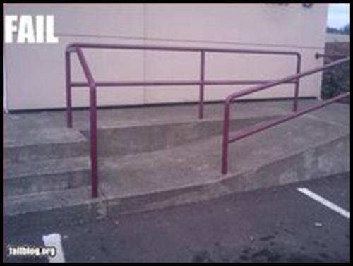 Un escalón antes de la rampa.